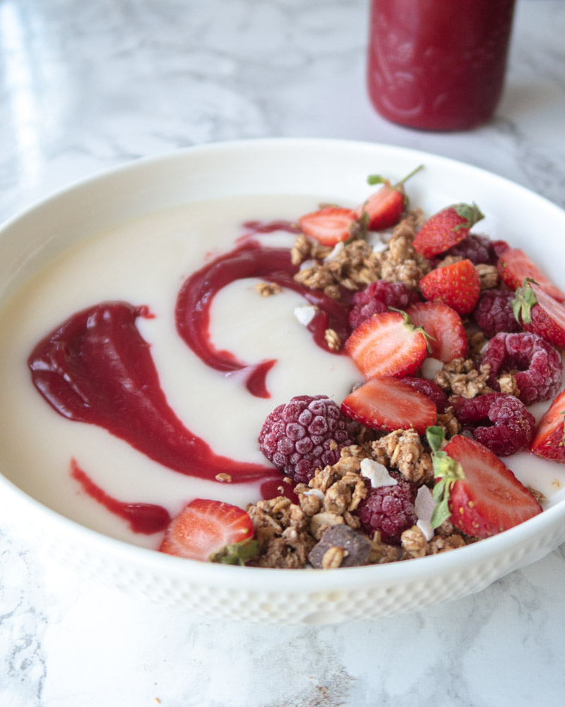 yogurt with cannabis infused raspberry curd