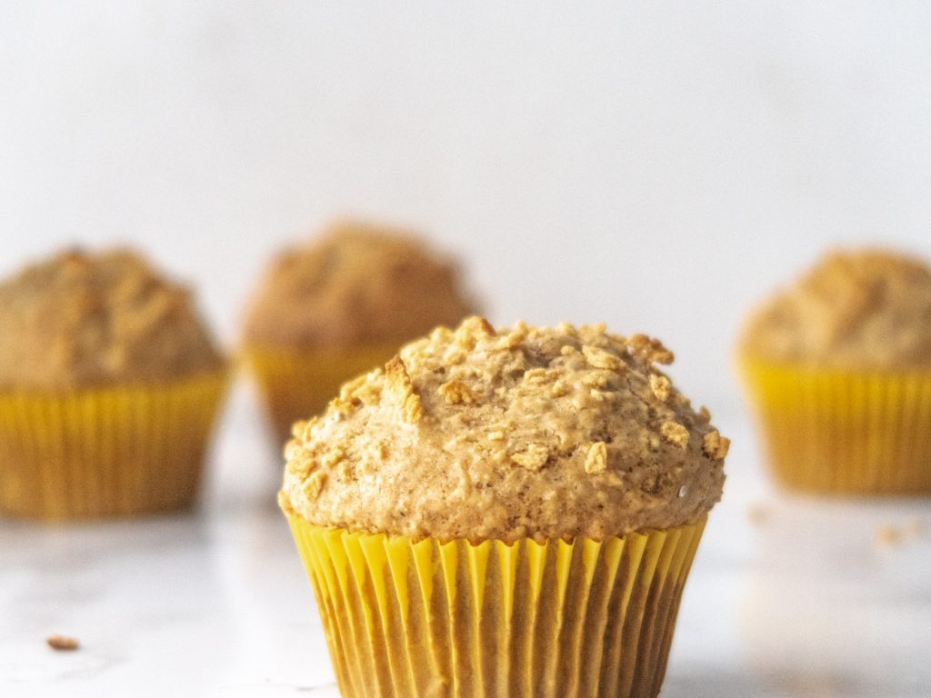 maple and oats vegan muffins side view
