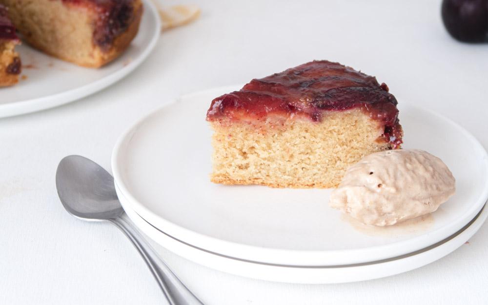 plum vegan weed cake slice with ice cream