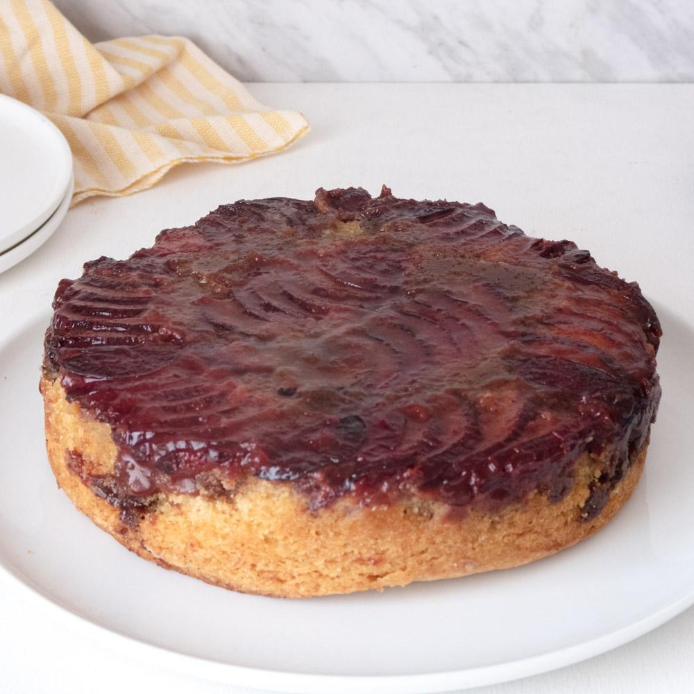 upside-down plum canna-cake