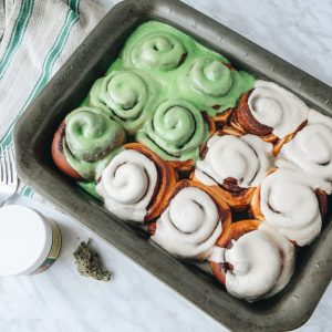 top down view of vegan cannabis cinnamon rolls